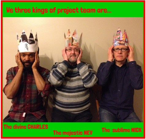 Advent Calendar, 11th December - three kings of the project team aka Charles, Nev and Nick, taken this week between delivering a project in HMP Low Newton (Nev just visiting this time). Photo by Sara. Crowns courtesy of an abandoned trash mag. There's more about our office and project team on our website, including links to our project leaders other musical pursuits and interviews; https://irenetaylortrust.com/what-we-do/meet-the-team/office-staff-and-project-team/