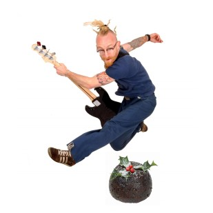 Advent Calendar Day 2 - 2nd December; project leader Rex on bass. Photo from 2007 project 'Where I'm Coming From' by the marvellous Lizzie Coombes (Christmas Pudding added by Luke)
