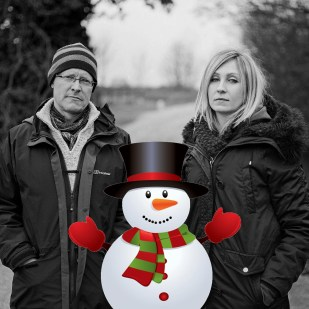 Advent Calendar Day 8 - 8th December; Project leaders Nick and Emma make a new friend... photo by the wonderful Charles Stuart (snowman added by Luke)