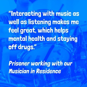 """Interacting with music as well as listening makes me feel great which helps mental health and staying off drugs."""