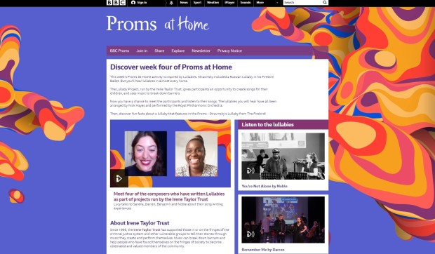 Lullaby Project featured on BBC proms at home